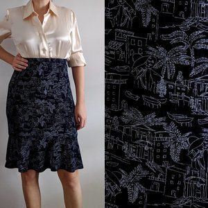 1990's Novelty Print High-Rise Skirt